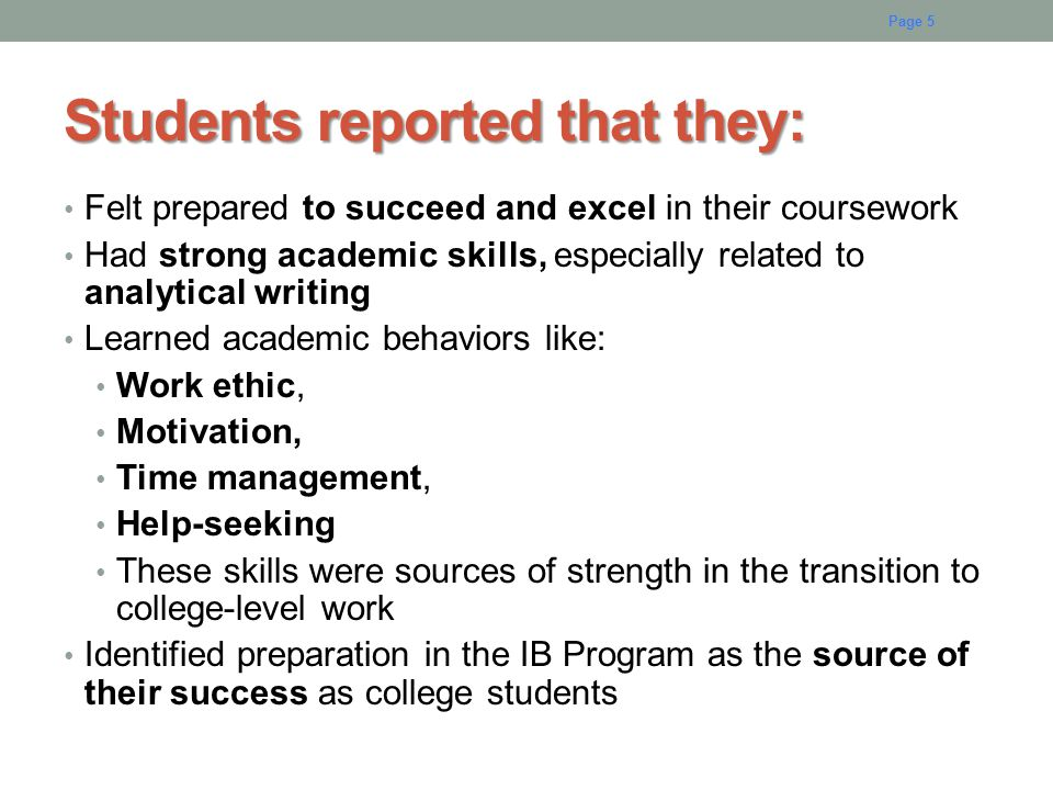 Students reported that they: