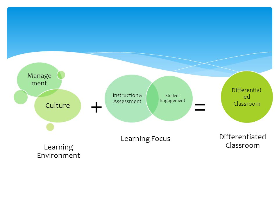 + = Culture Learning Focus Differentiated Classroom