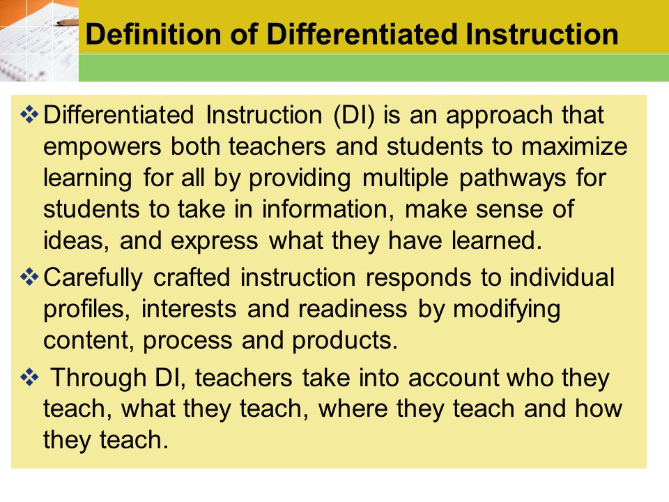 Definition of Differentiated Instruction