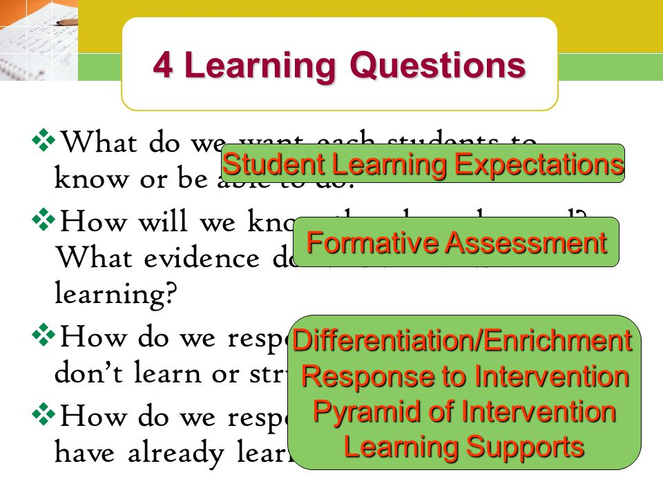 4 Learning Questions 4 Learning Questions