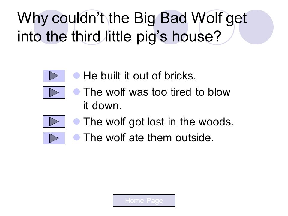 Why couldn't the Big Bad Wolf get into the third little pig's house