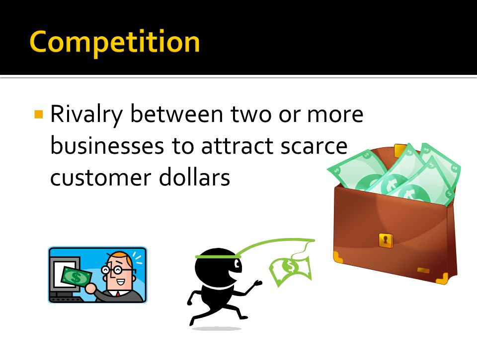 Competition Rivalry between two or more businesses to attract scarce customer dollars