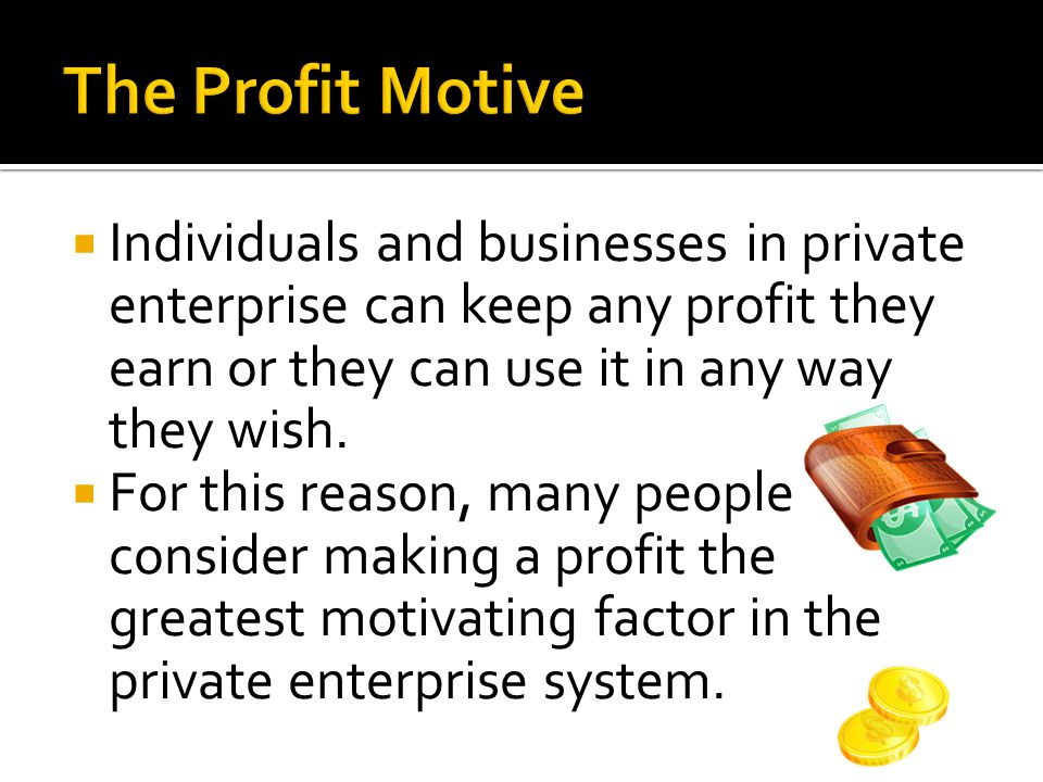 The Profit Motive Individuals and businesses in private enterprise can keep any profit they earn or they can use it in any way they wish.
