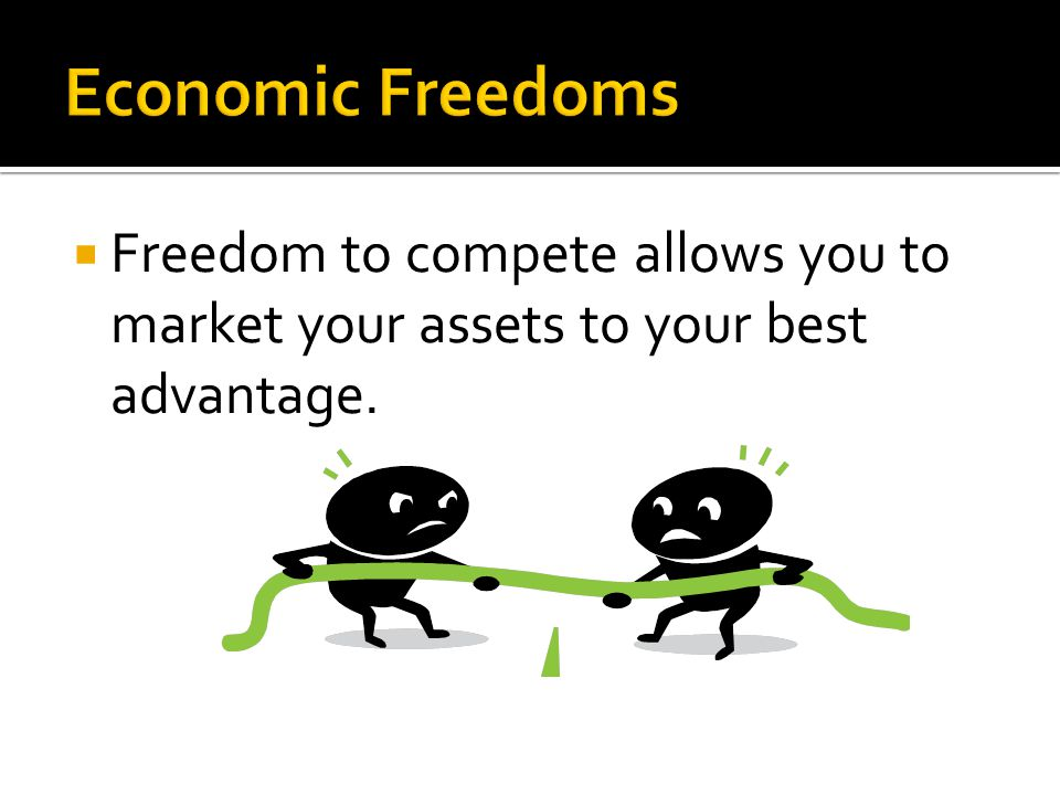 Economic Freedoms Freedom to compete allows you to market your assets to your best advantage.