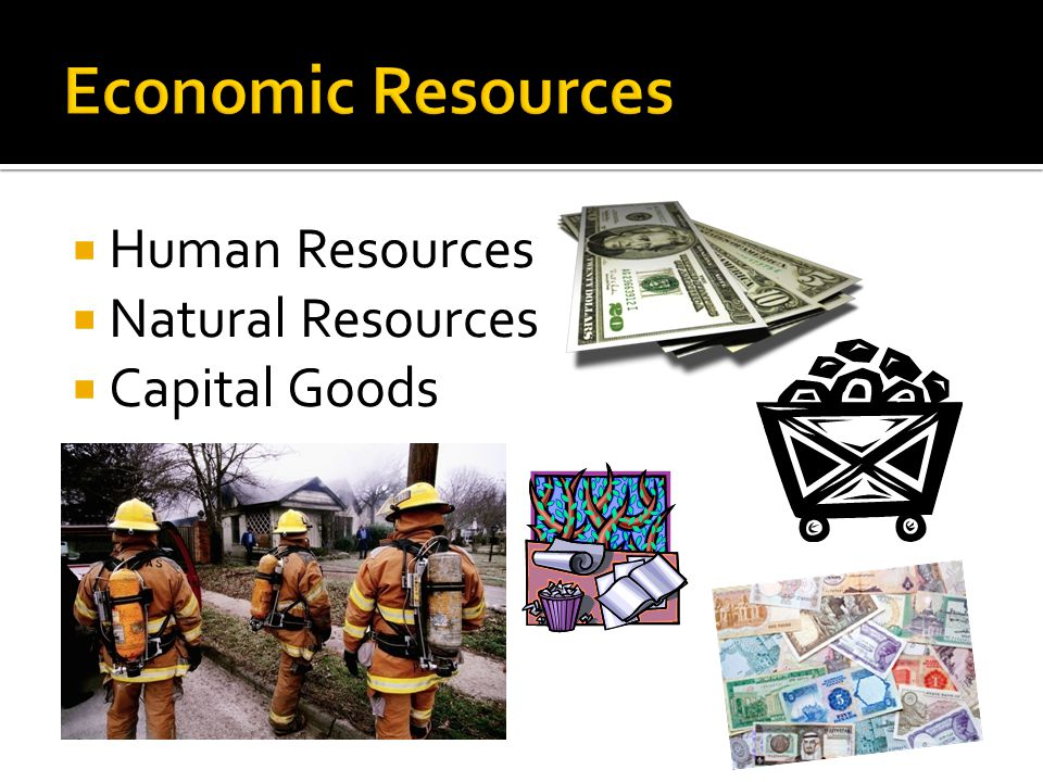 Economic Resources Human Resources Natural Resources Capital Goods