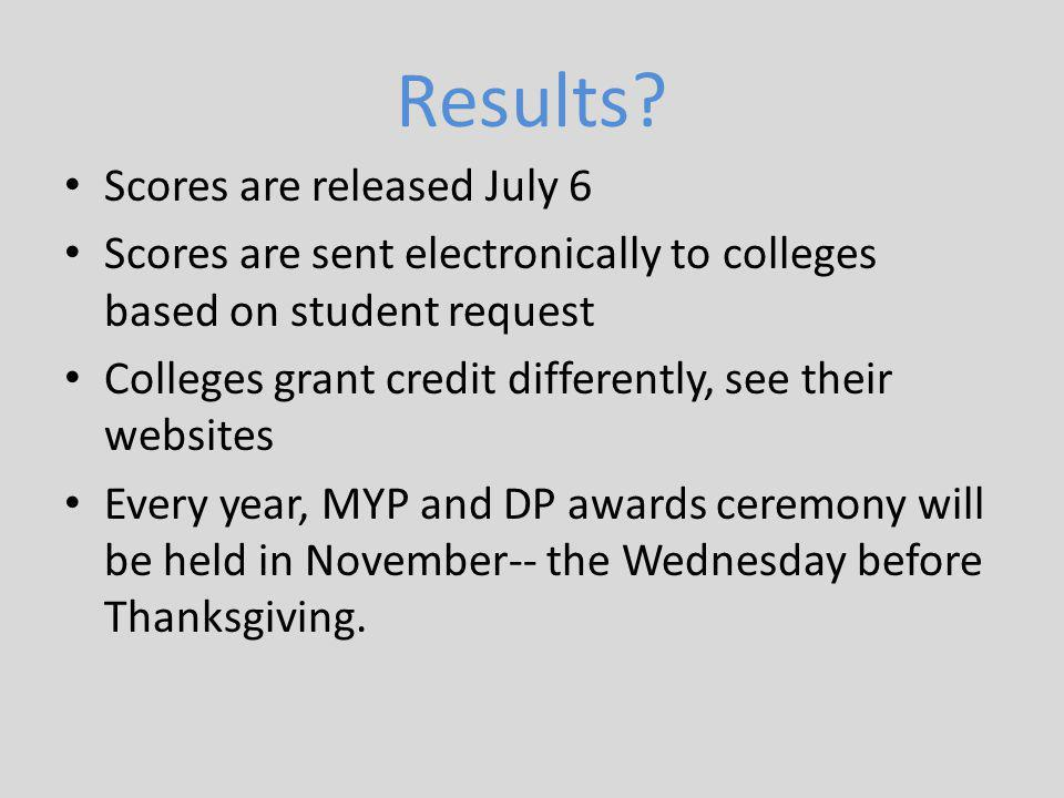 Results Scores are released July 6