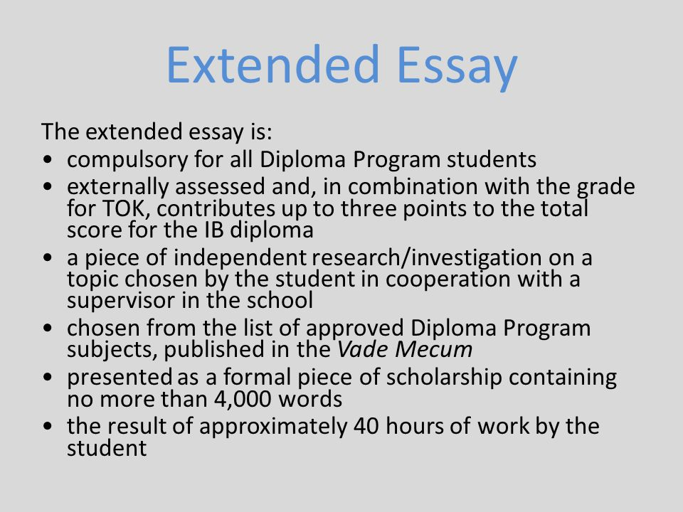 vade mecum ib extended essay Ib diploma programme, vade mecum pp subjects and the additional ib diploma requirements must be completed in order of knowledge and an extended essay.
