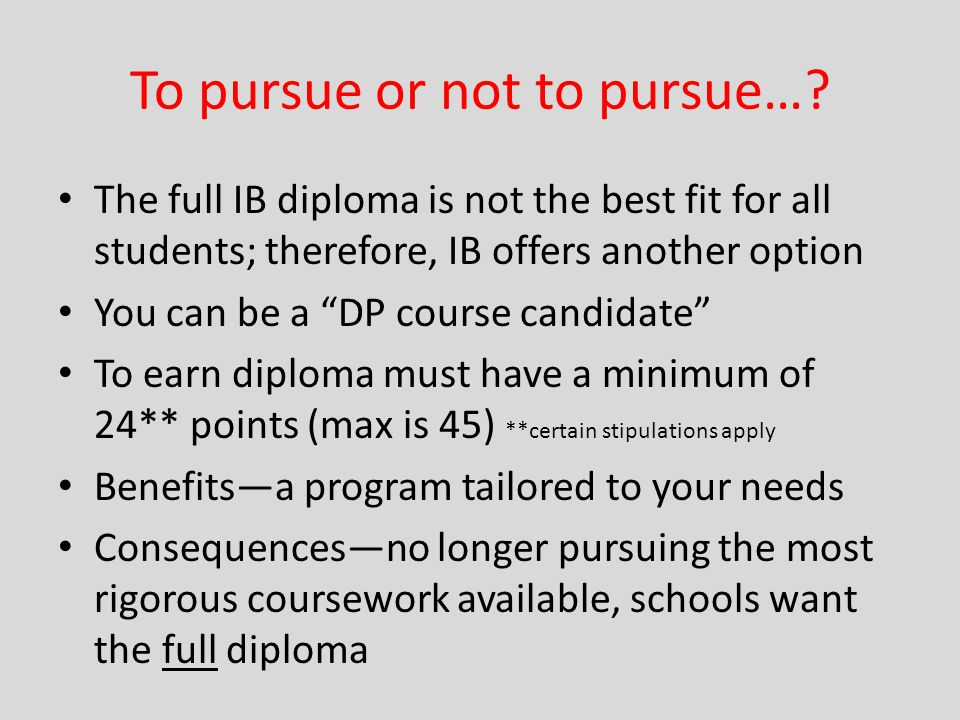 To pursue or not to pursue…