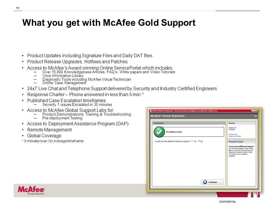 What you get with McAfee Gold Support