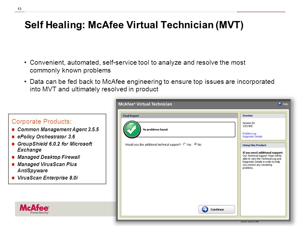 Self Healing: McAfee Virtual Technician (MVT)