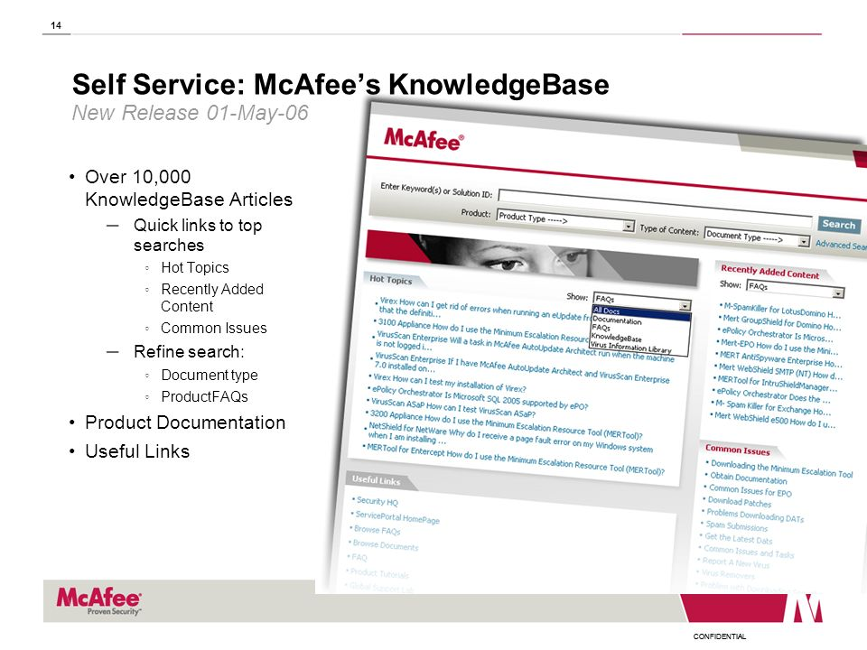 Self Service: McAfee's KnowledgeBase New Release 01-May-06