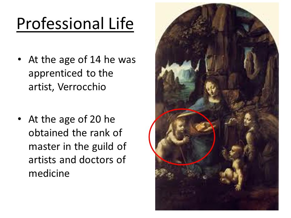 Professional Life At the age of 14 he was apprenticed to the artist, Verrocchio.