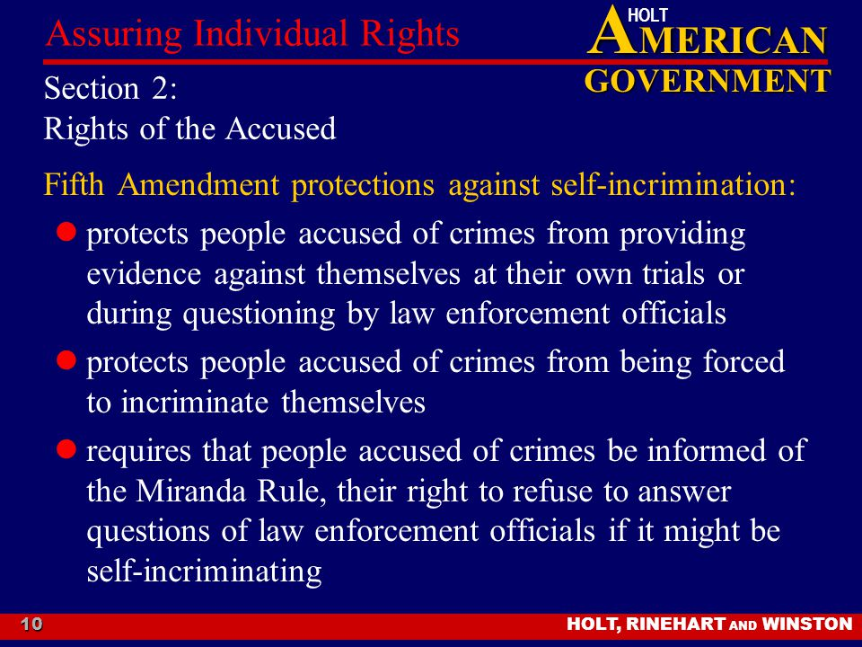 Section 2: Rights of the Accused