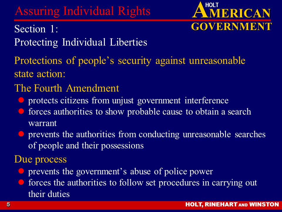 Section 1: Protecting Individual Liberties