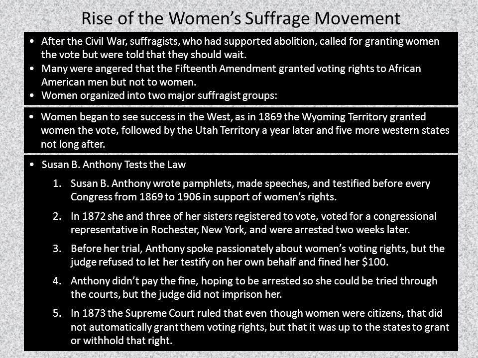 Rise of the Women's Suffrage Movement