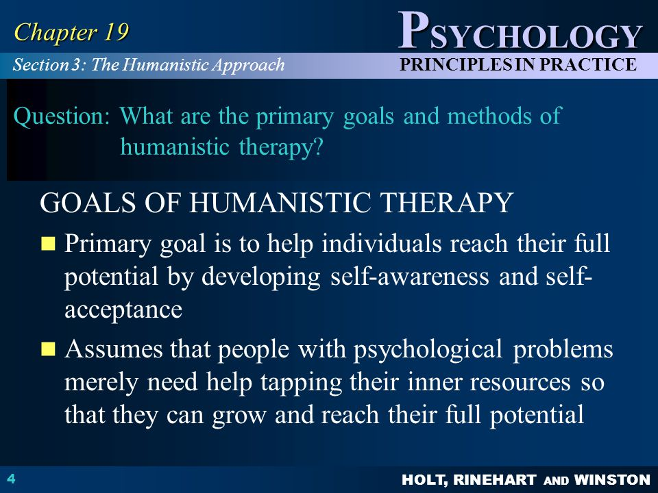 GOALS OF HUMANISTIC THERAPY