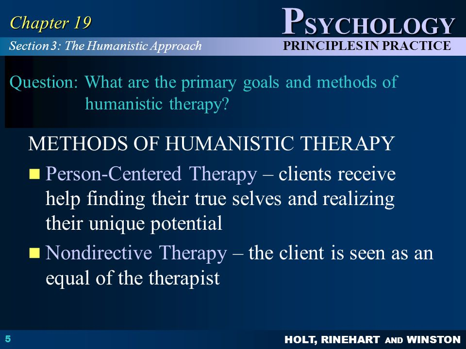 METHODS OF HUMANISTIC THERAPY