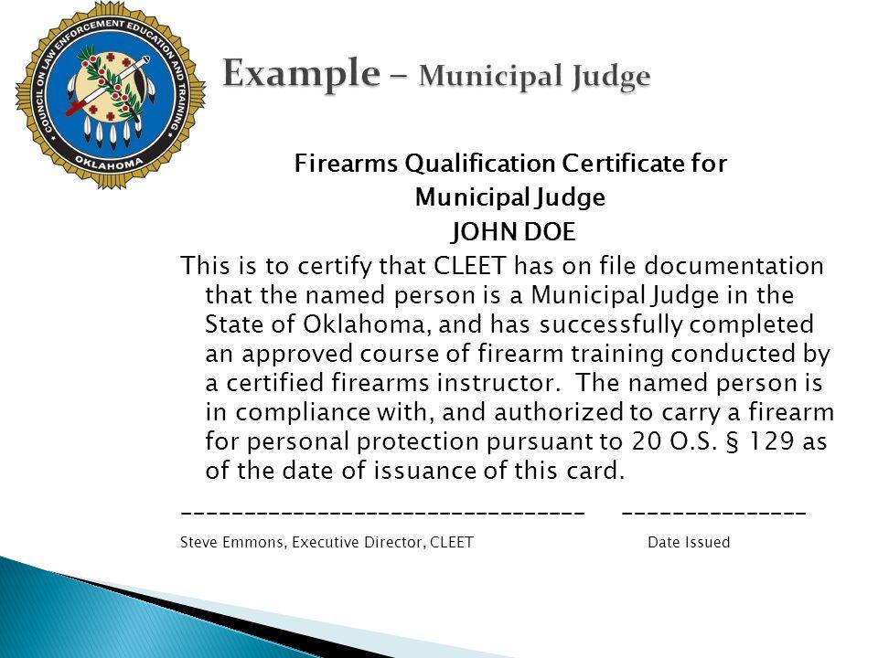 Example – Municipal Judge