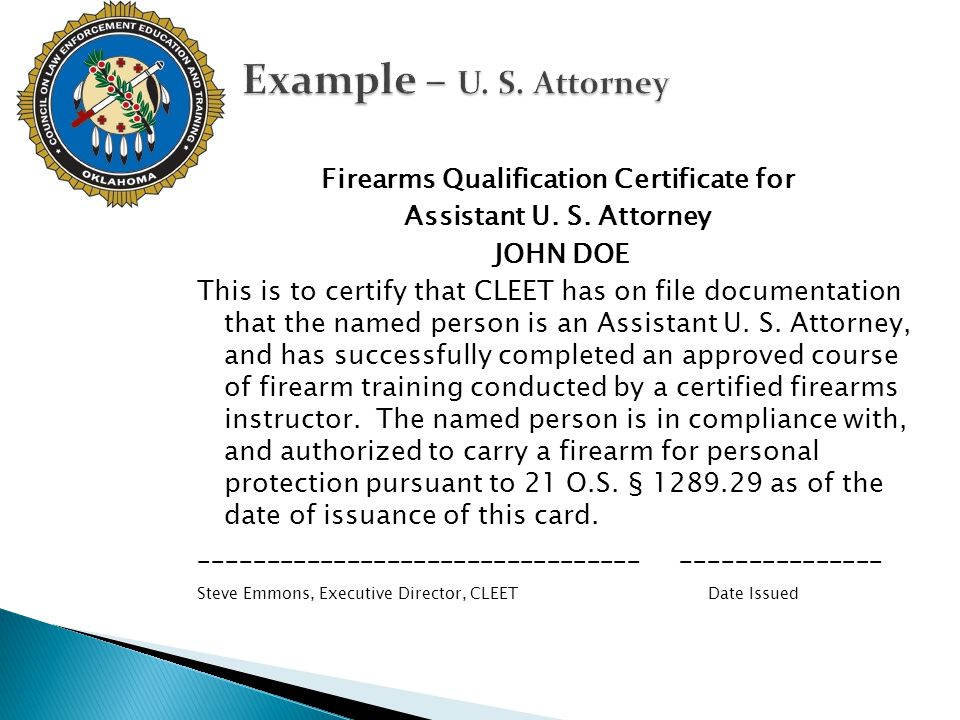 Firearms Qualification Certificate for