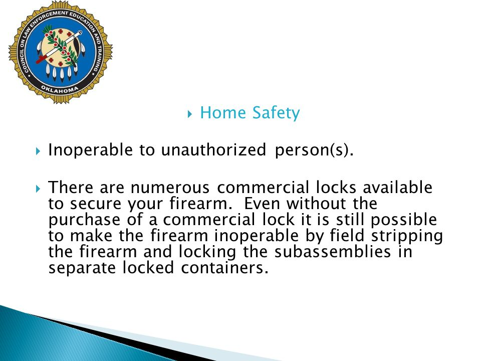 Home Safety Inoperable to unauthorized person(s).