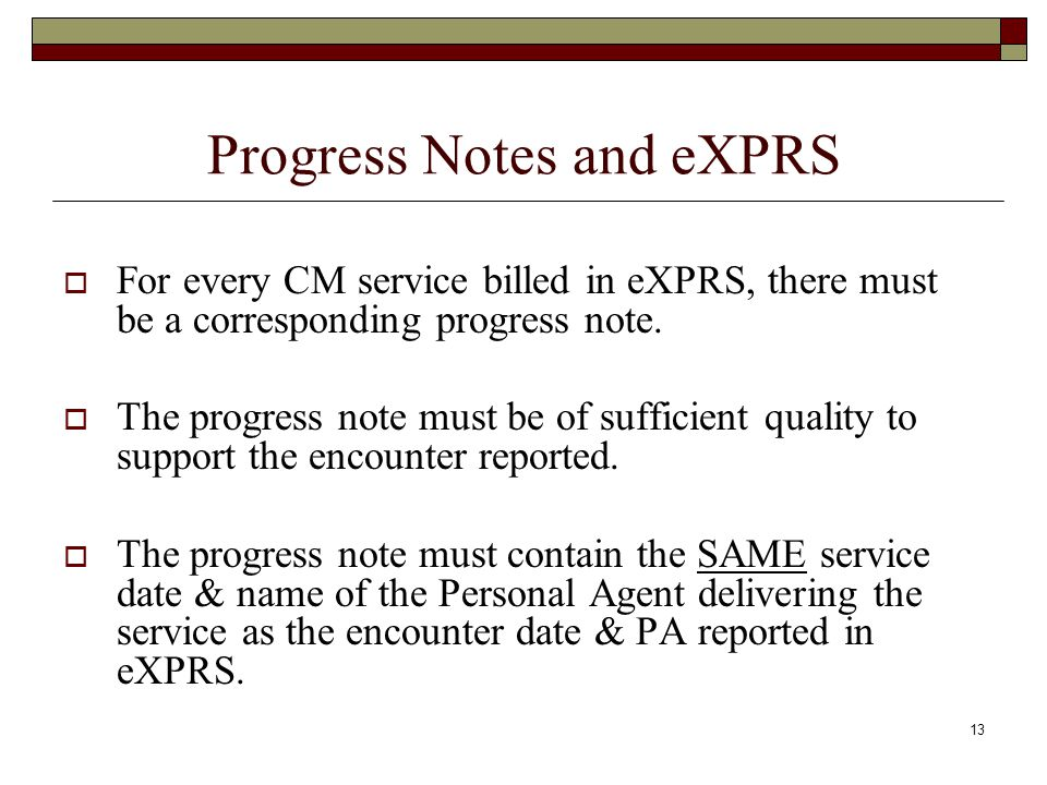 Progress Notes and eXPRS