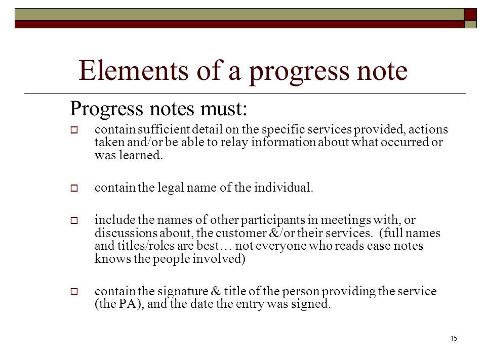 Elements of a progress note