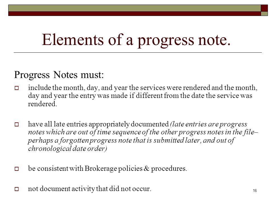 Elements of a progress note.