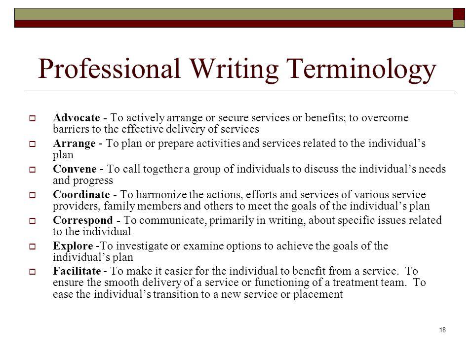Professional Writing Terminology