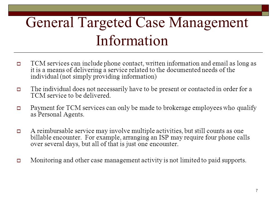 General Targeted Case Management Information