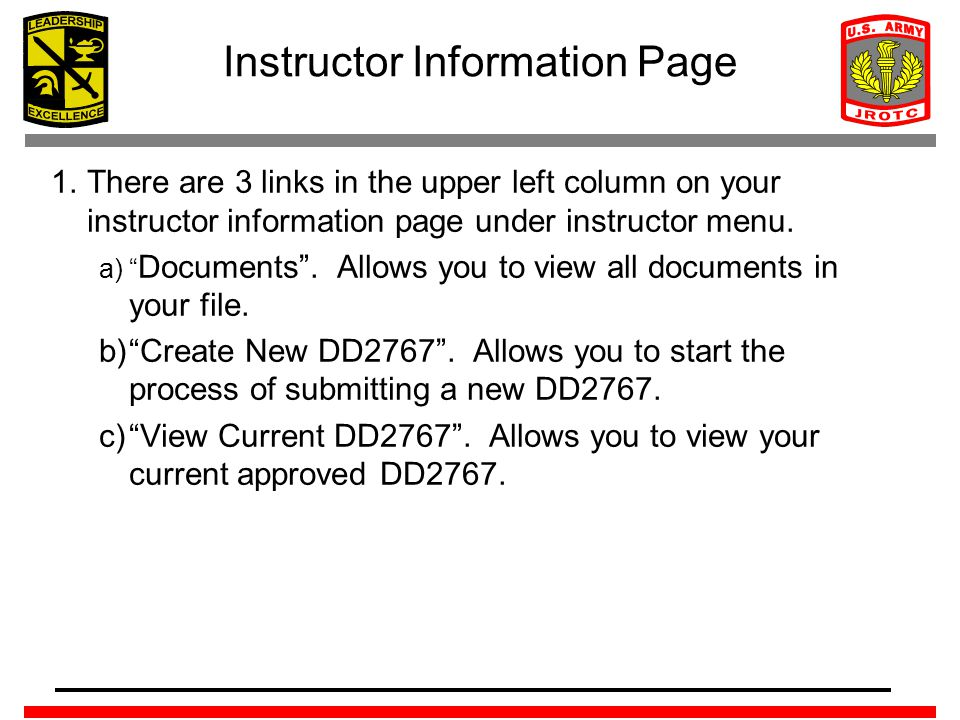 Instructor Information Page