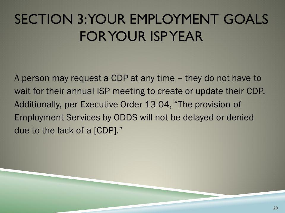section 3: your employment goals for your isp year