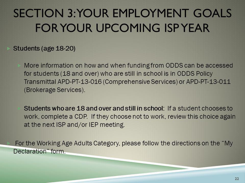 section 3: your employment goals for your UPCOMING isp year