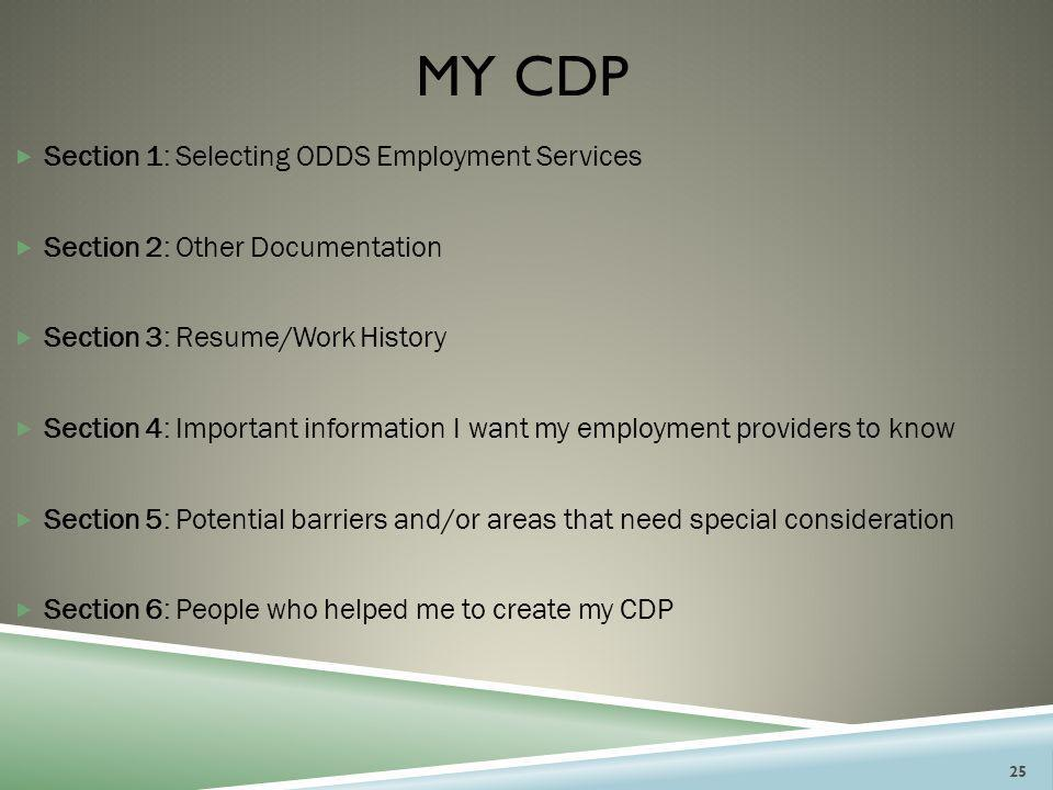 My Cdp Section 1: Selecting ODDS Employment Services