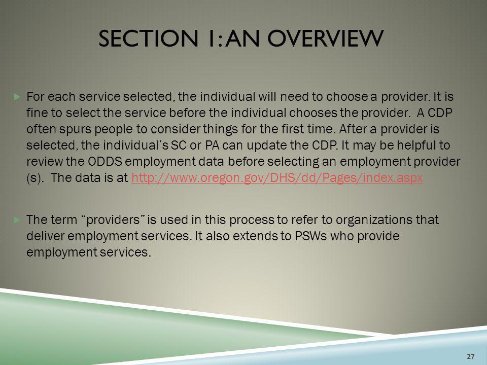 Section 1: an overview