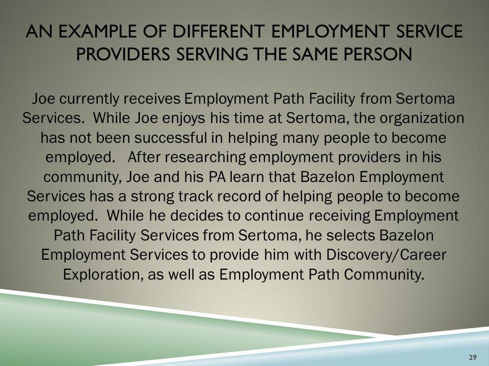 AN Example of different employment service providers serving the same person