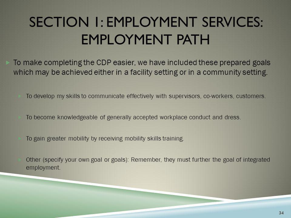 Section 1: employment services: employment path