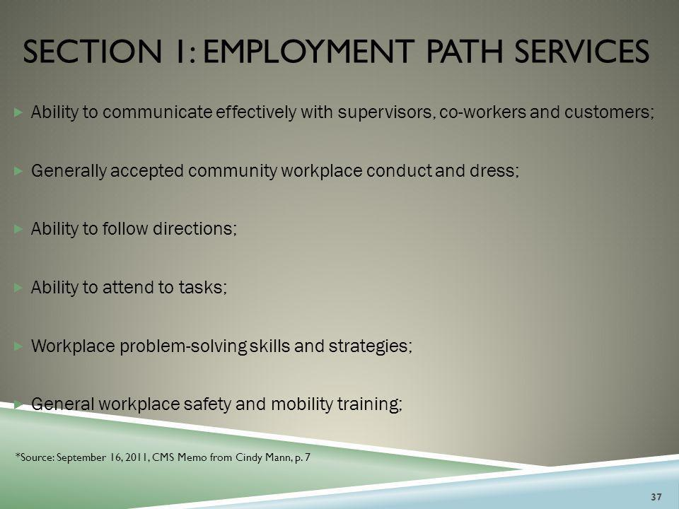 Section 1: employment path services