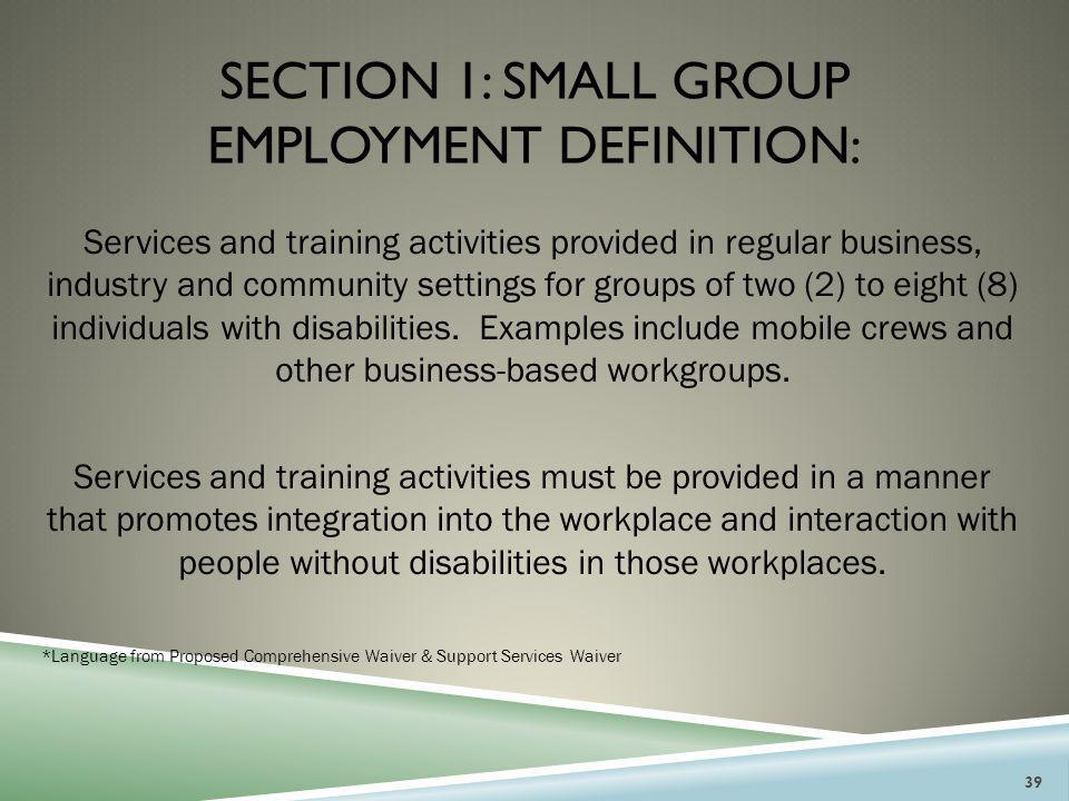 Section 1: small group employment DEFINITION: