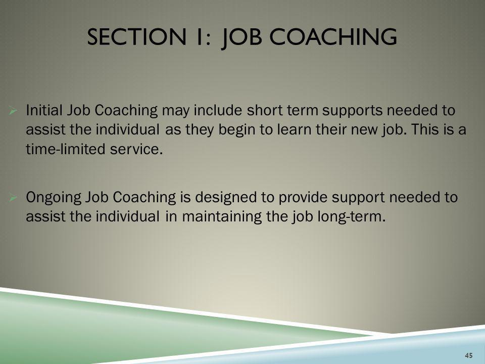 Section 1: JOB COACHING