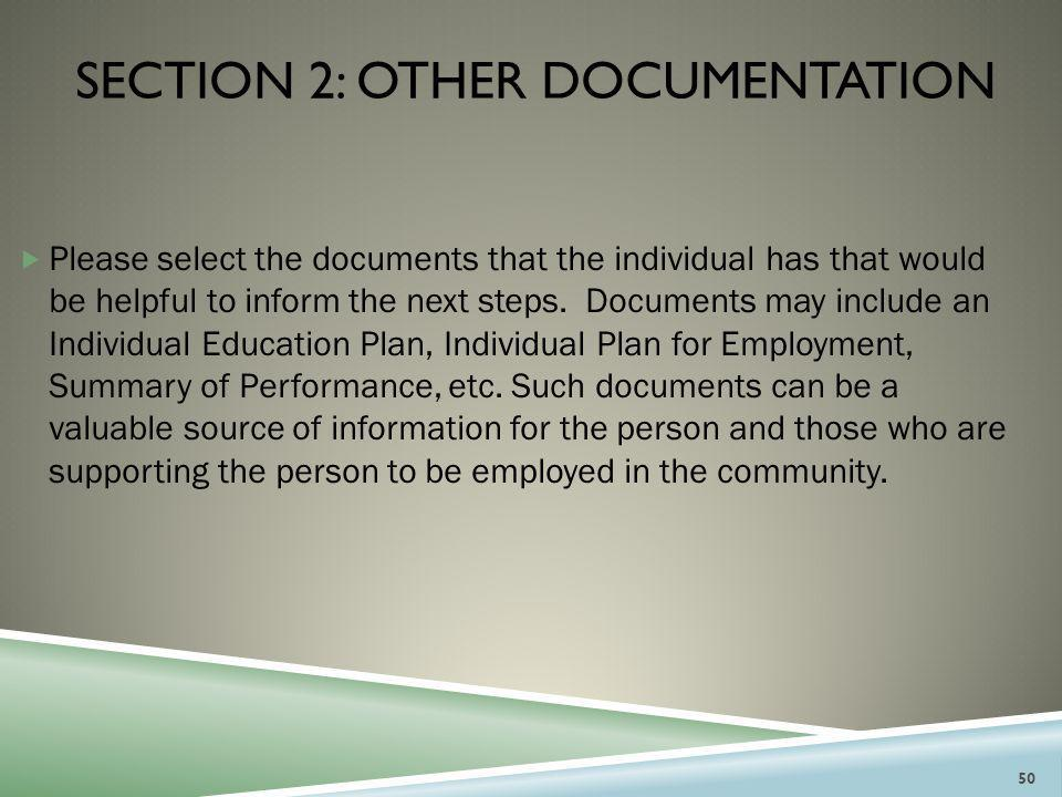 Section 2: other documentation