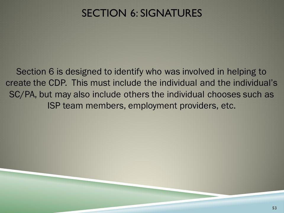 Section 6: signatures