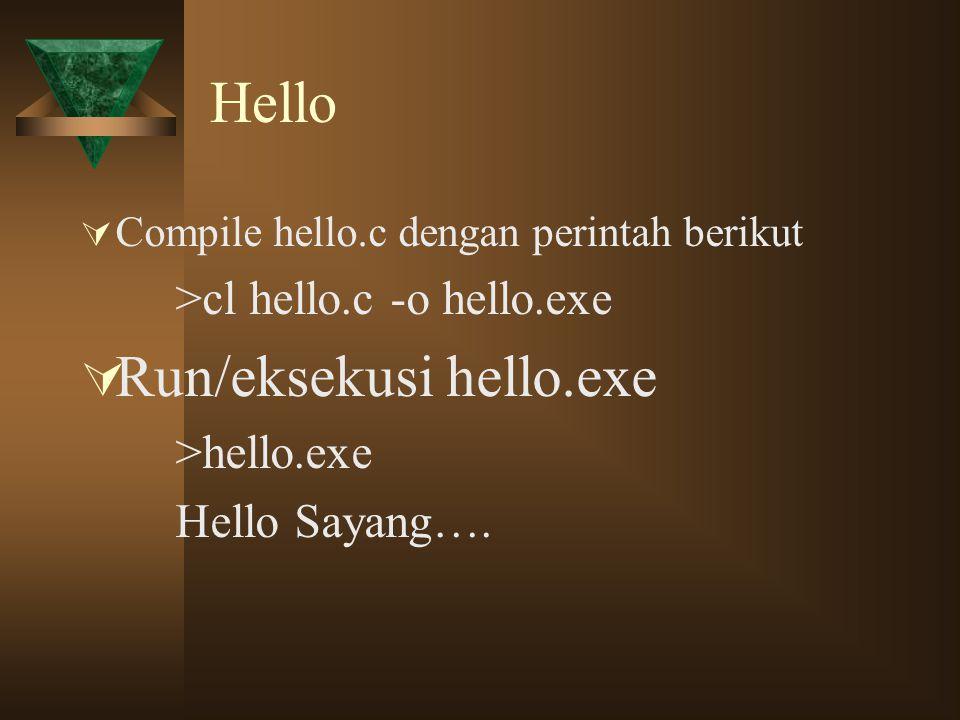 Run/eksekusi hello.exe