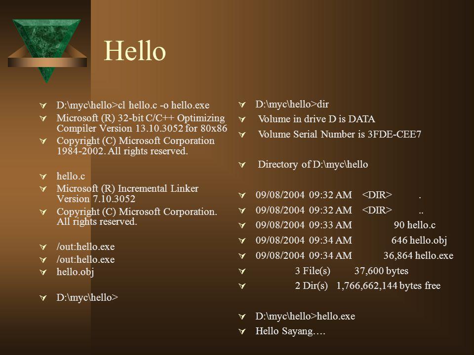 Hello D:\myc\hello>dir D:\myc\hello>cl hello.c -o hello.exe