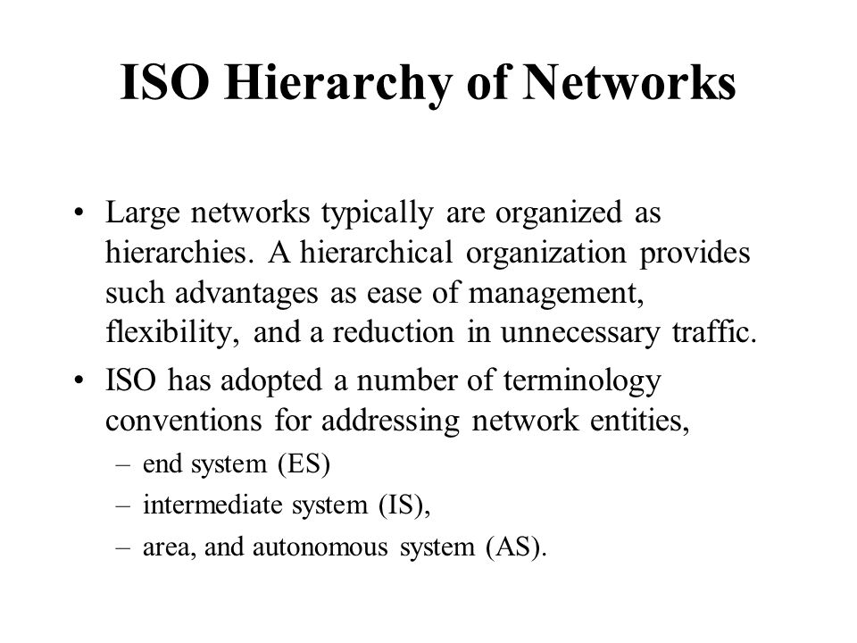 ISO Hierarchy of Networks