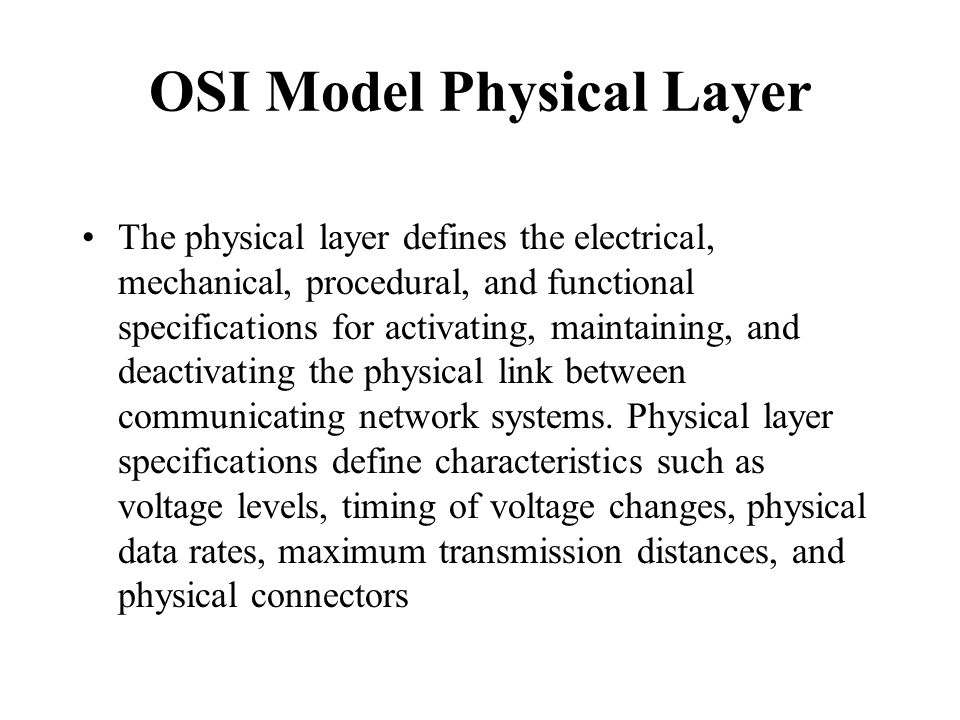 OSI Model Physical Layer