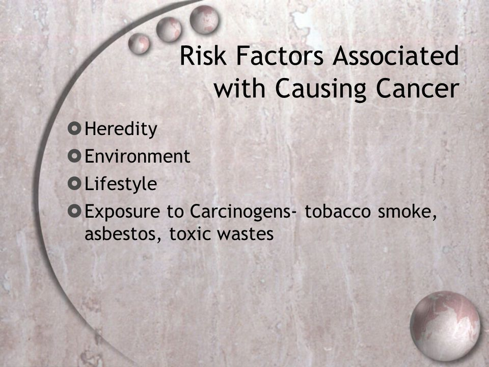 Risk Factors Associated with Causing Cancer