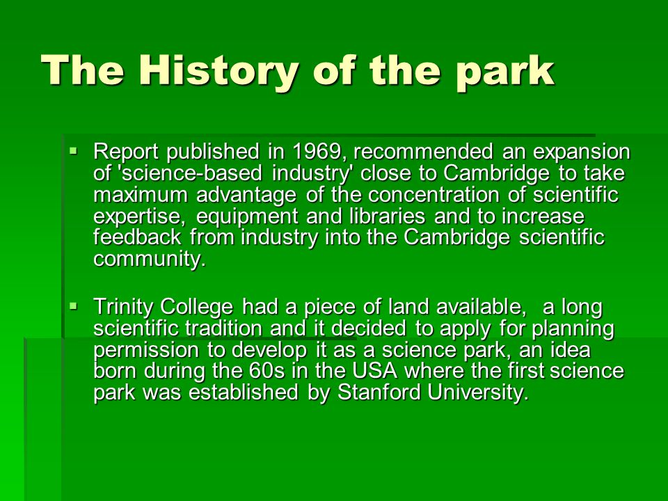 The History of the park