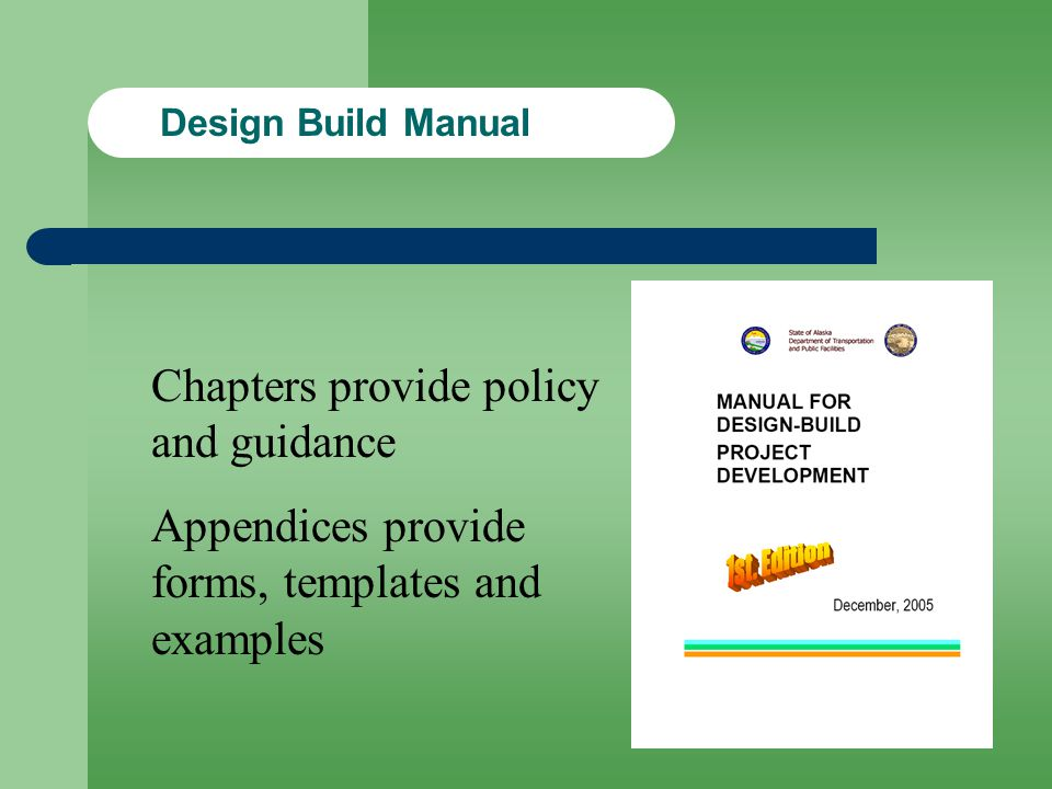 Chapters provide policy and guidance