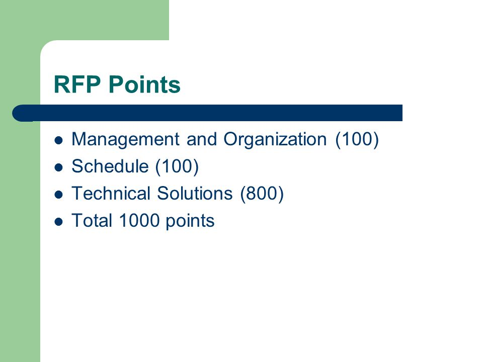 RFP Points Management and Organization (100) Schedule (100)