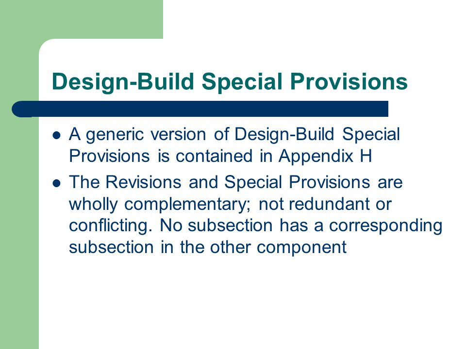 Design-Build Special Provisions